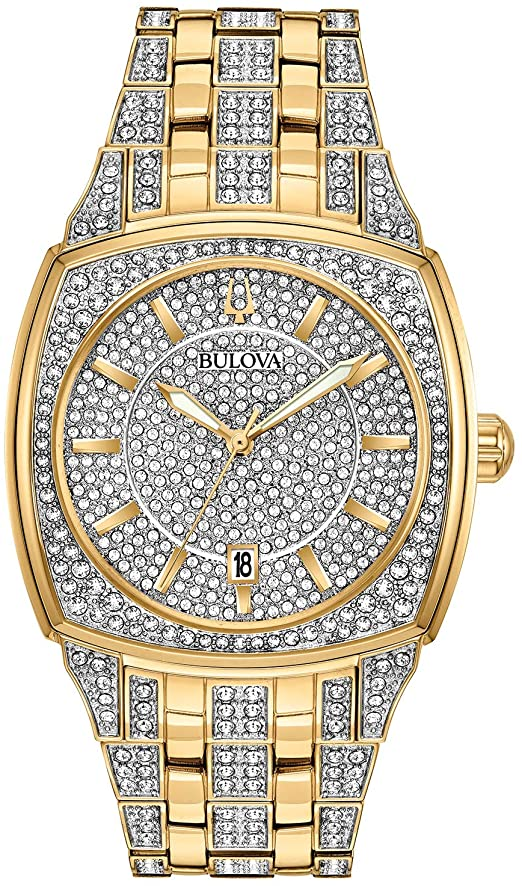 Bulova Gold Tone Crystal Watch