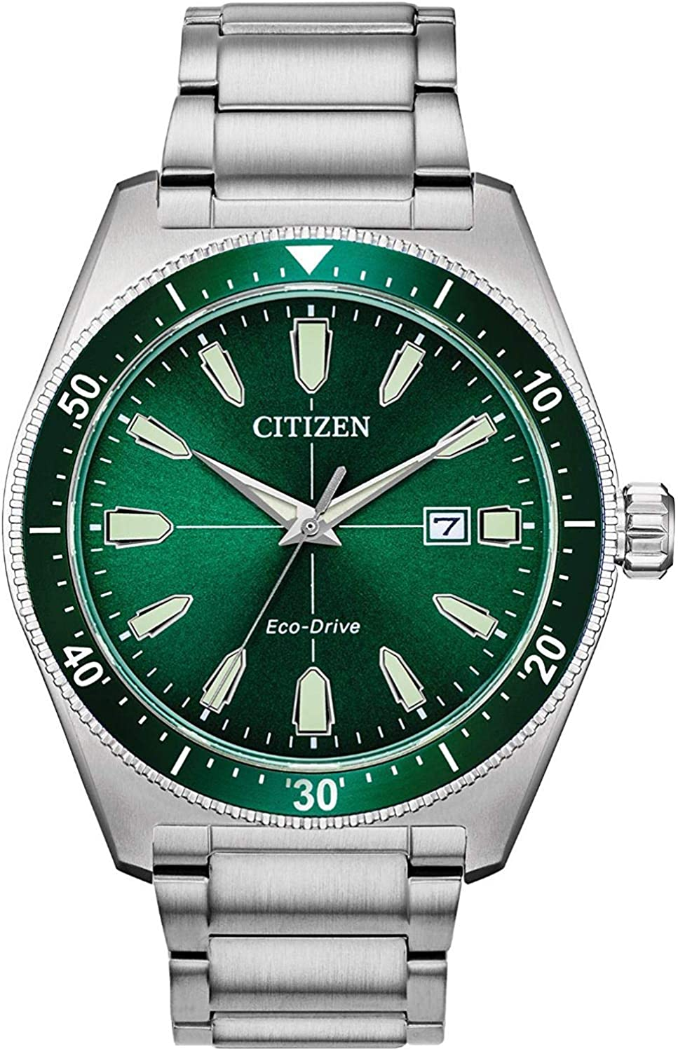 Citizen Eco Drive Silver Tone Watch with Green Face