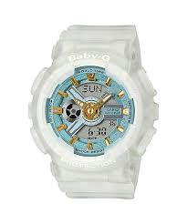 Baby G Transparent White Watch with Teal & Gold Tone Dial