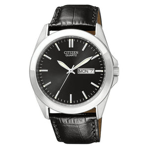 Citizen Quartz Black Leather Watch