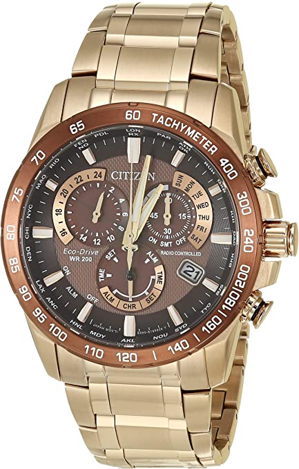 Citizen Eco Drive Gold Tone Perpetual Chronograph Watch