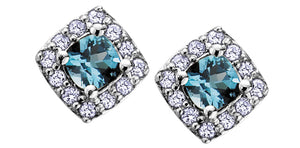 10K White Gold Diamond & Gem Earrings