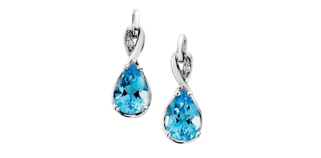 10K White Gold Diamond & Blue Topaz Earrings