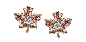 14K Rose Gold Diamond Maple Leaf Earrings
