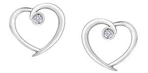 10K White Gold Heart Earrings