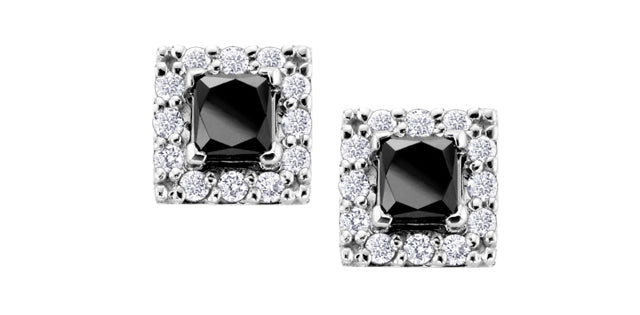 10K White Gold Black Diamond Earrings