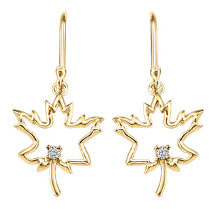 10K Yellow Gold Dangle Maple Leaf Earrings