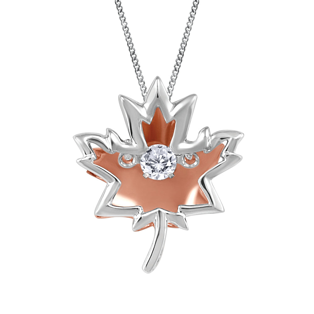 10K Two Tone Diamond in Motion Maple Leaf Necklace