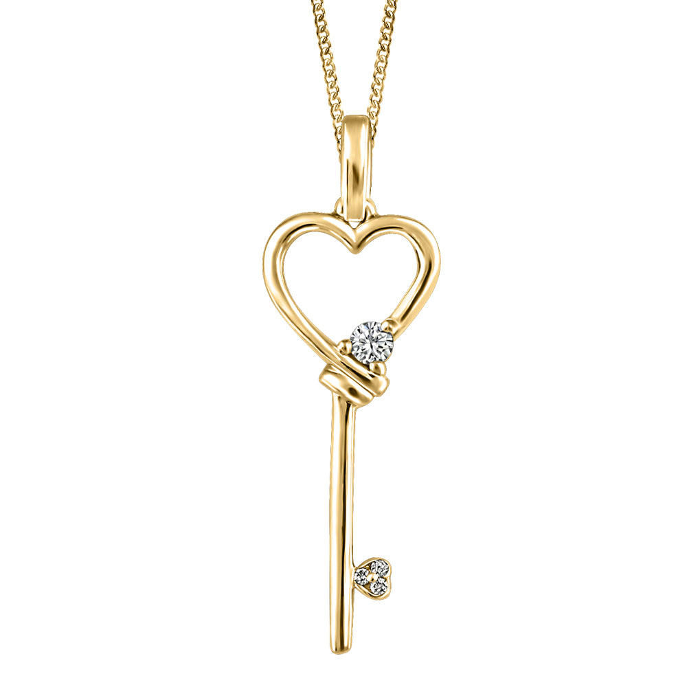 10K Yellow Gold Diamond Key Necklace