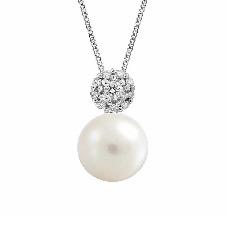 10K White Gold Diamond & Pearl Necklace