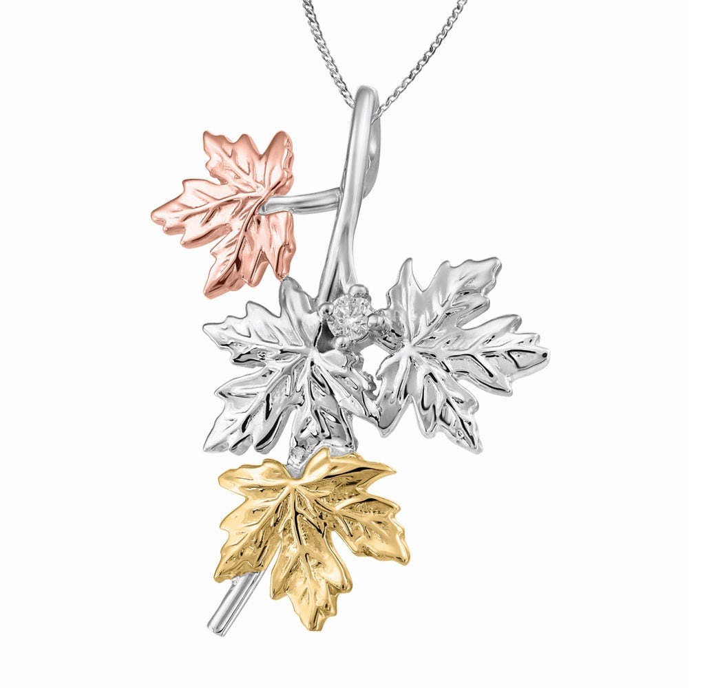 10K Tri Gold Maple Leaf Diamond Necklace