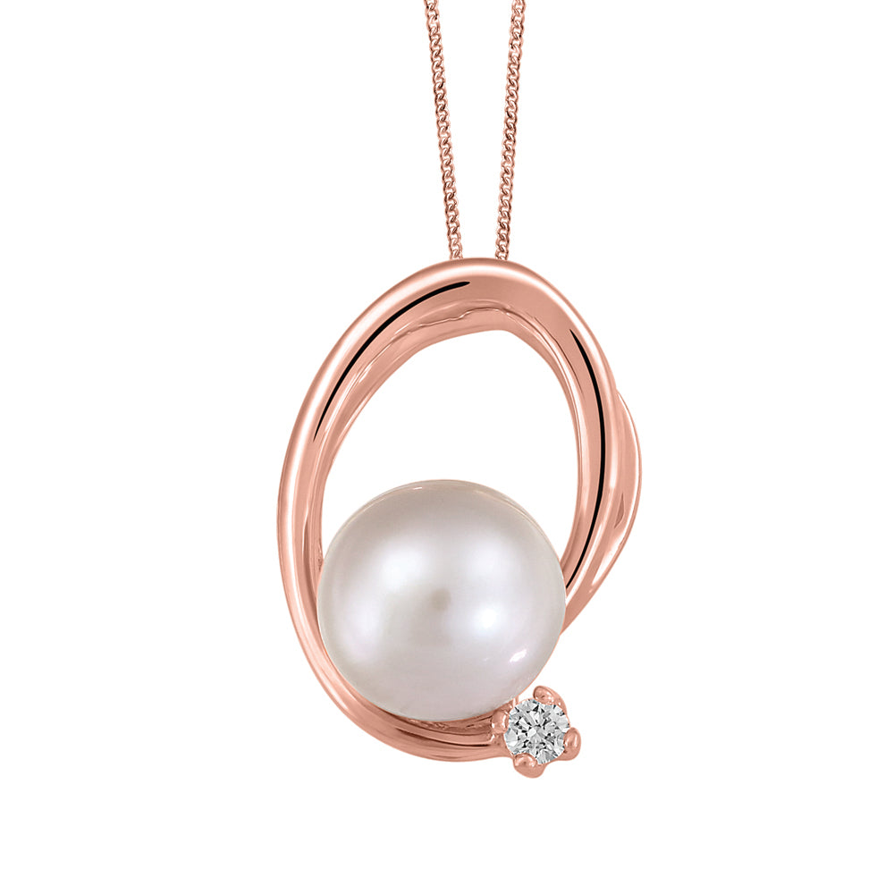 10K Rose Gold Pearl Diamond Necklace