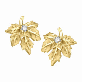 10K Yellow Gold Maple Leaf Diamond Earrings