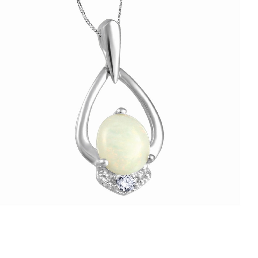 10K White Gold Opal & Diamond Necklace
