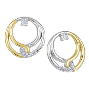 10K White & Yellow Gold Diamond Circle Earrings