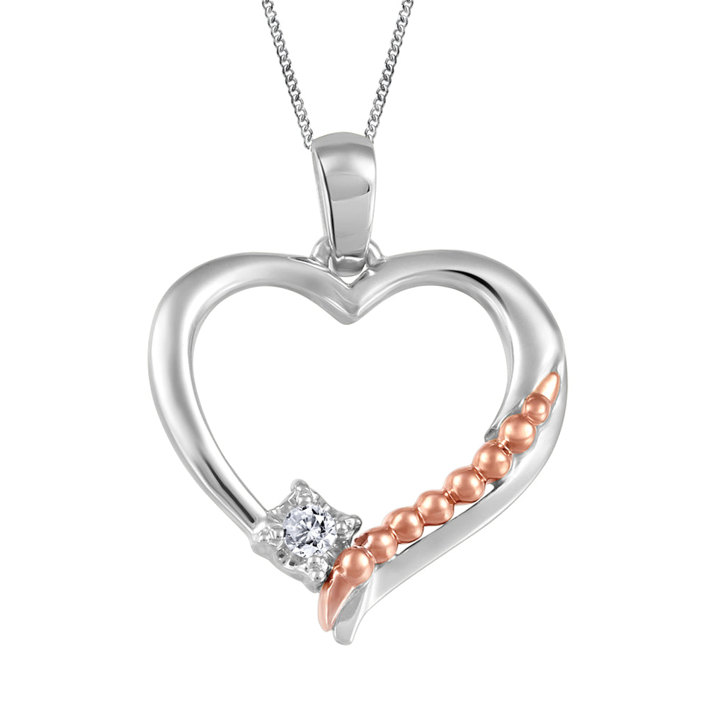 10K Two Tone Diamond Heart Necklace