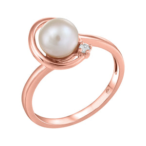 10K Rose Gold Diamond Pearl Ring