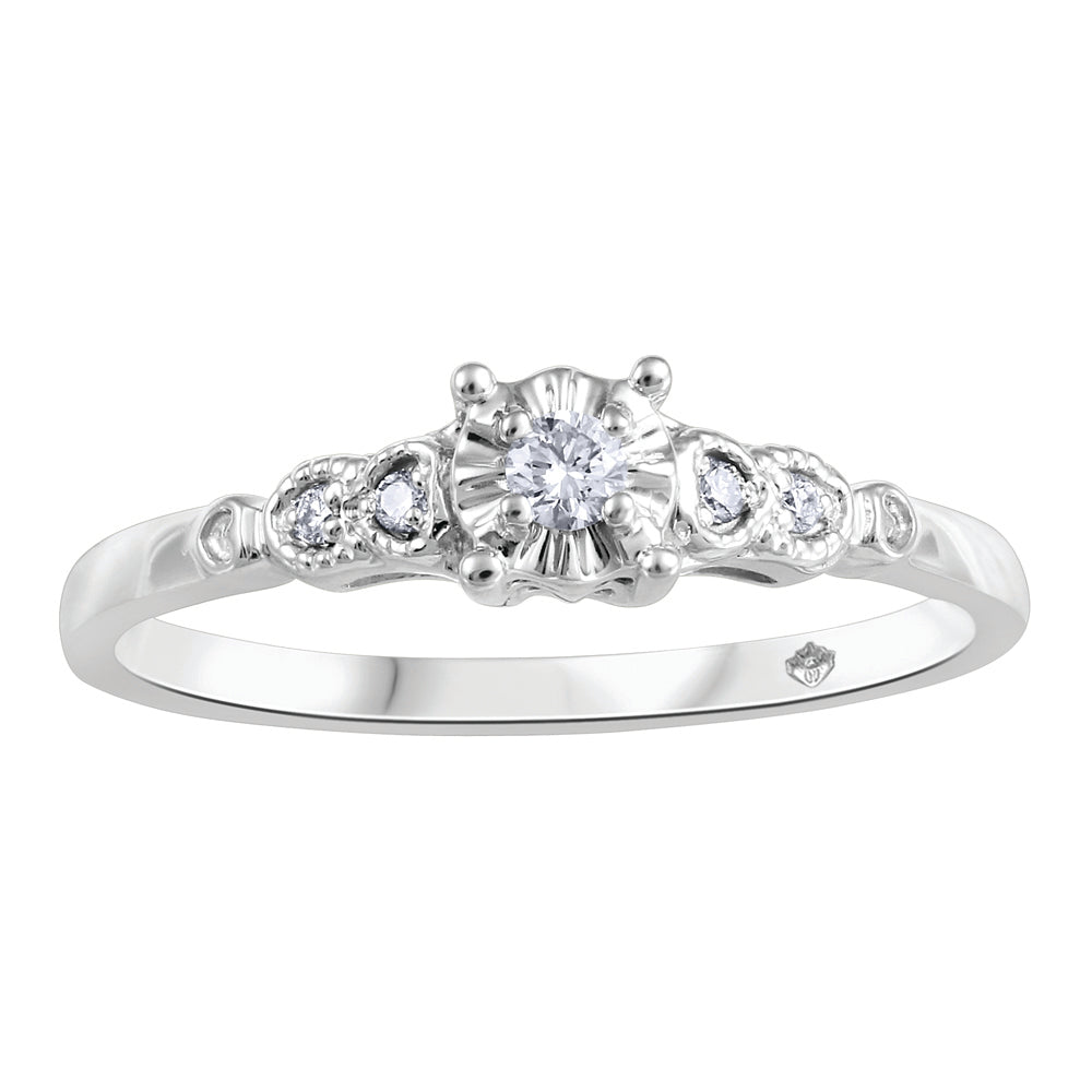 10K White Gold Center Diamond Engagement Ring