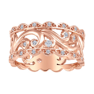 10K Rose Gold Diamond Band