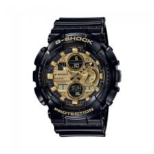 G Shock Black & Gold Tone Watch