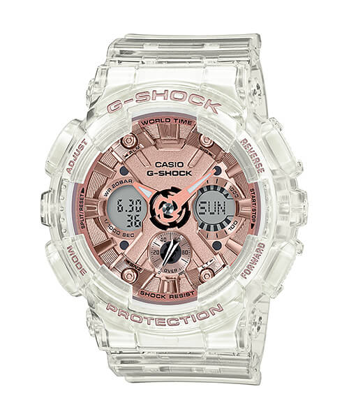 G Shock Clear White & Pink Watch