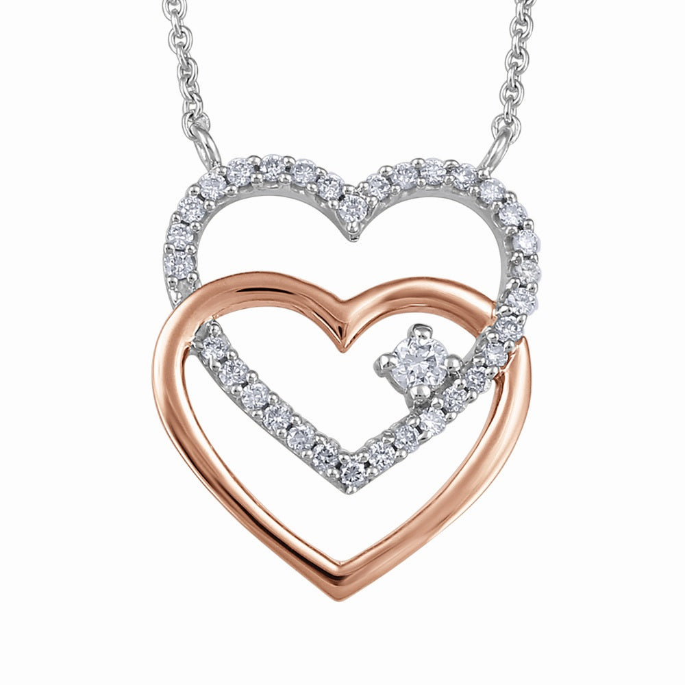 10K Two Tone Interlocking Diamond Heart Necklace