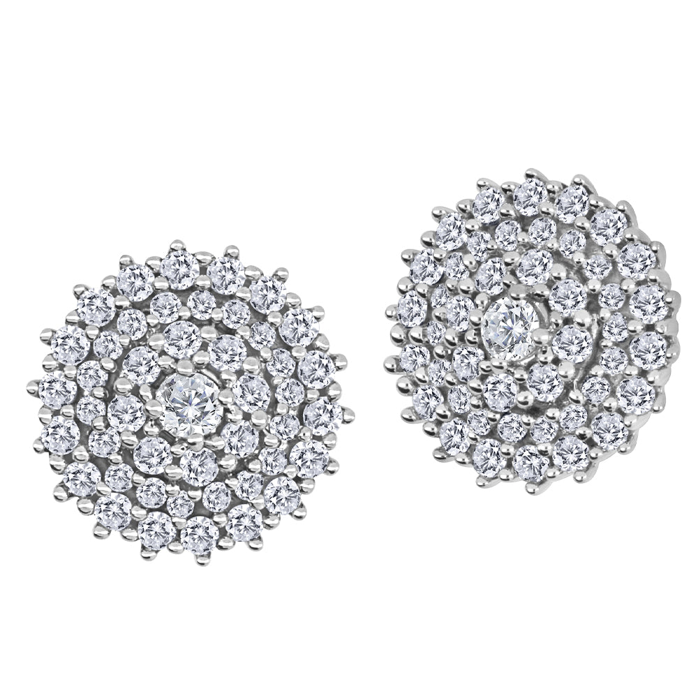10K White Gold Round Cluster Earrings