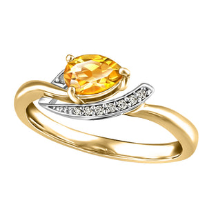 10K Yellow Gold Diamond Topaz Ring