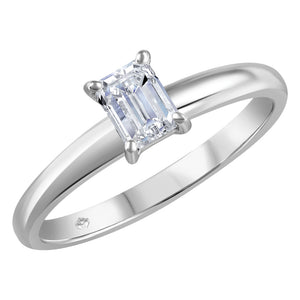 14K White Gold Emerald Cut Diamond Ring