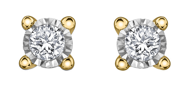 10K Yellow Gold Solitaire Diamond Stud Earrings