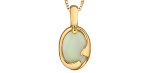10K Yellow Gold Opal Necklace
