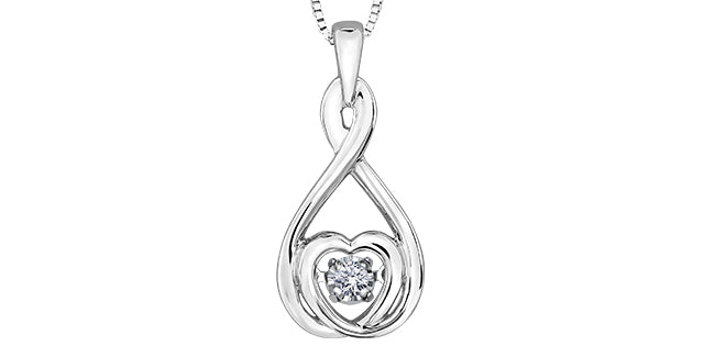 10K White Gold Diamond Pulse Necklace