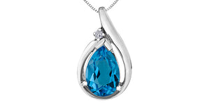 10K White Gold Diamond Blue Topaz Necklace