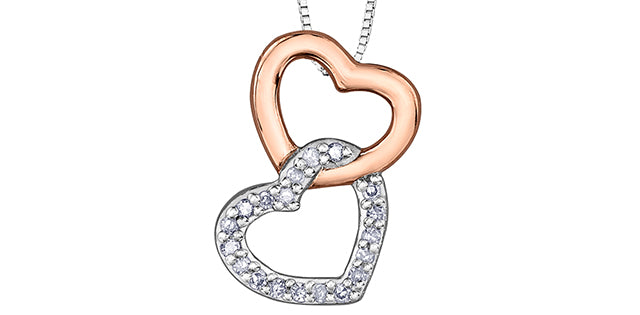 10K Two Tone Diamond Double Heart Necklace