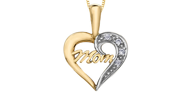 10K Yellow Gold Diamond Mom Necklace