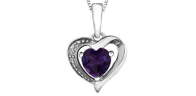 10K White Gold Diamond Amethyst Heart Necklace