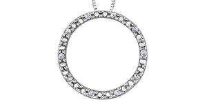 10K White Gold Diamond Circle
