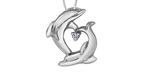 10K White Gold Diamond Dolphin Necklace