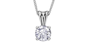 10K White Gold Solitaire Diamond Necklace
