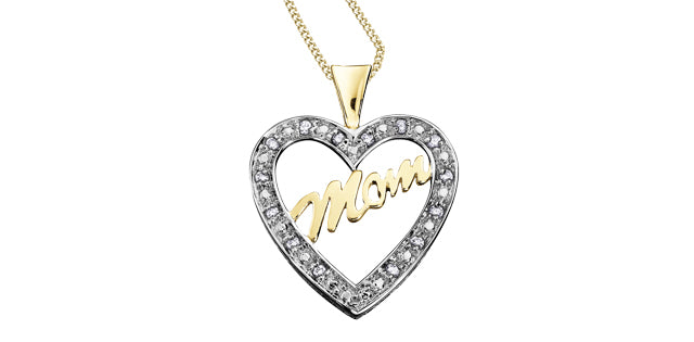 10K Yellow Gold Diamond Heart Mom Necklace