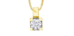 10K Yellow Gold Solitaire Diamond Necklace