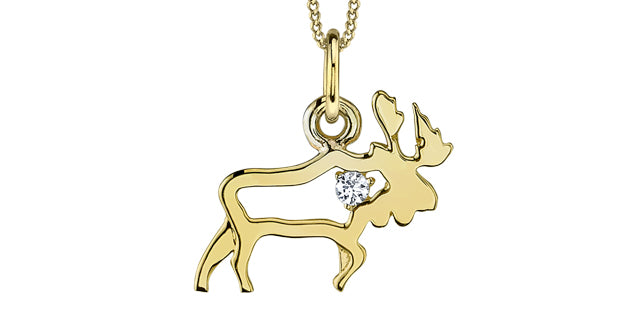 10K Yellow Gold Moose Necklace with Canadian Diamond