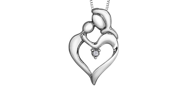 Sterling Silver Diamond Mother Child Heart Necklace