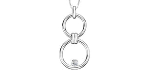 Sterling Silver Diamond Circle Necklace