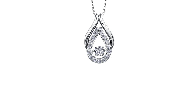 10K White Gold Diamond Drop Necklace