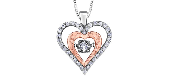 10K Rose Gold Silver Diamond Heart Necklace