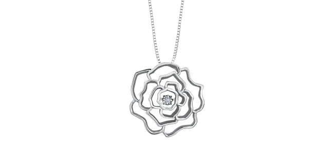 Sterling Silver Diamond Rose Necklace