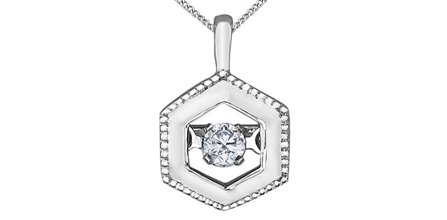 10K White Gold Diamond Hexagon Necklace