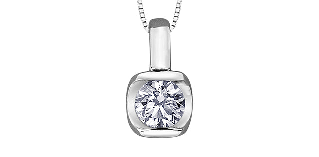 10K White Gold Tension Set Solitaire Diamond Necklace