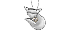 10K Yellow Gold Silver Diamond Fox Necklace